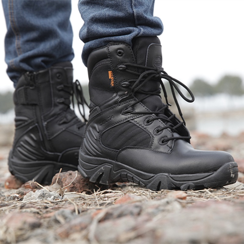 71b7e78f401 Men's Work Shoes Genuine Leather Waterproof Lace Up Tactical Boot Fashion  Motorcycle Men Combat Ankle Military Army Boots