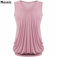 Womens V Neck Sleeveless Pleated Front Tunic Tops Candy Solid Color Plus Size Top Women Summer 2017 Female T-shirt Tank Top Tee