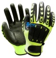 Anti Vibration Oil and Gas Safety Glove Fluorescent  Yellow Nylon Shock Absorbing Mechanics Impact Resistant Work Glove