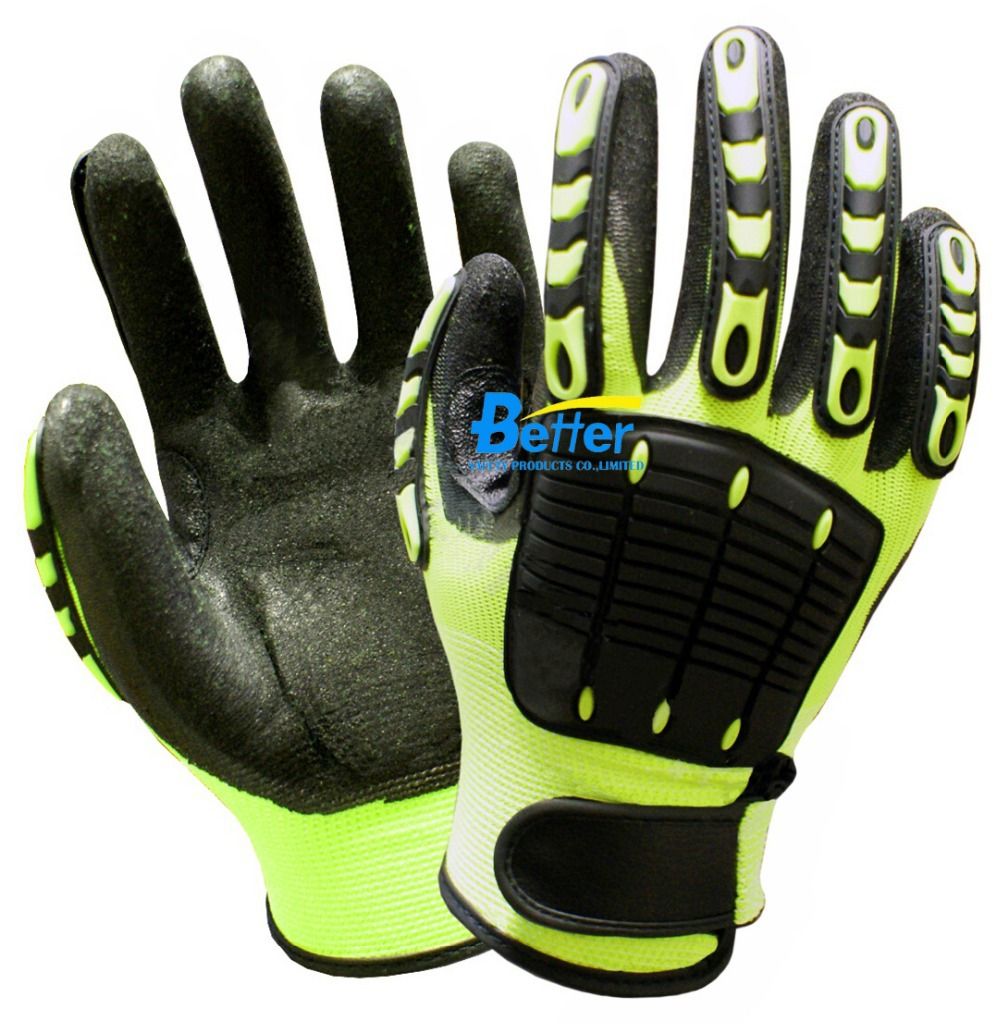 Anti <font><b>Vibration</b></font> Oil and Gas Safety Glove Fluorescent Yellow Nylon Shock Absorbing <font><b>Mechanics</b></font> Impact Resistant Work Glove