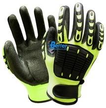 Флуоресцентный желтый нейлон амортизирующие механика Предметы безопасности перчатки антивибрационные нефти и газа ударопрочного рабочие перчатки