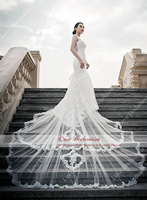 New 2015 Perfect Tailored Real Model Appliques Mermaid Wedding Dresses 2016 Royal Train Luxury Bride Gowns