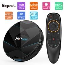 Bqeel HK1MINI + Android 9,0 Smart tv BOX RK3318 Четырехъядерный 4G 128G 4 K Android ТВ-приемник с WiFi BT4.0 телеприставка Google Play Store