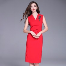 Red dresses đối woman 2018 new chất lượng cao mùa xuân mùa hè Cổ Điển Không Tay đảng Dress thời trang văn phòng làm việc sexy Pencil dress