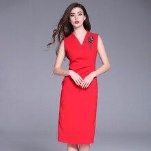 Rot kleider für frau 2018 neue, qualitativ hochwertige sommer Vintage Ärmellose kleid fashion büroarbeit sexy bleistiftkleid