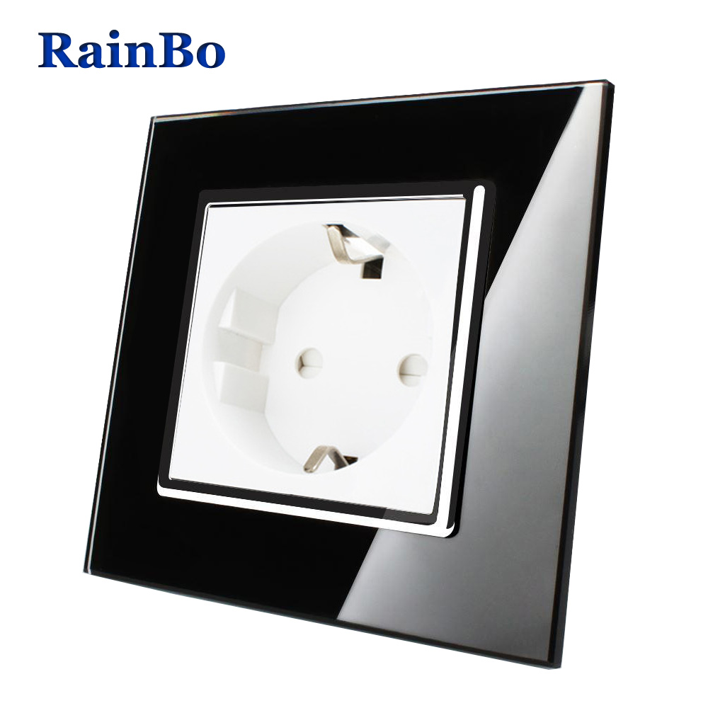 RainBo EU Wall Socket EU Standard Power Socket Black Crystal Glass Panel AC 110~250V 16A Wall Power Socket Free Shipping A18EB rainbo brand free shipping wall power socket new outlet france standard crystal glass panel ac110 250v 16a wall socket a18fw b