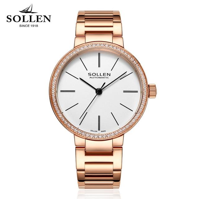 Brand Rose Gold Women Watches automatic mechanical Ladies Clock Girl Casual Watch Women Steel Bracelet WristWatch Montre Femme