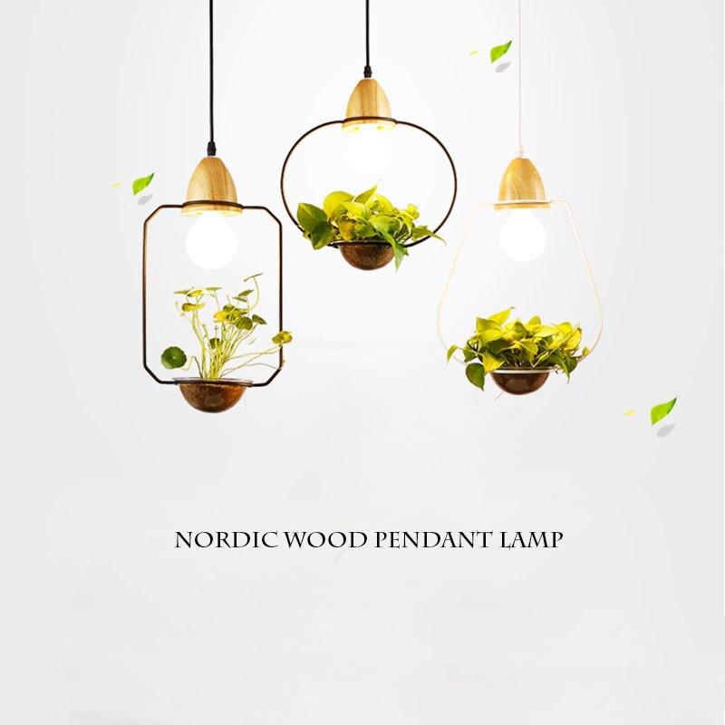 Işıklar ve Aydınlatma'ten Kolye ışıkları'de Modern İskandinav Oturma Yemek Odası Saksı Bitki Kolye Işık Lamba Gölge Modern Işık Saksı Büyüyen Otlar veya Succulents title=