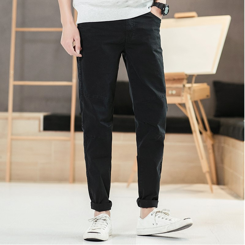 Mens Casual Pants 2019 Early Spring Male's Straight Wild Zipper Cotton Mid waist Trousers For Travel Work Dating Party