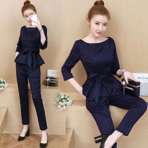 Blue Striped Office Two Piece Set Women Long Sleeve Tops With Belt+pants Trousers Ladies Korean Sets Suits Women's Clothing 2019 30