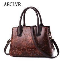 AECLVR Luxury Flowers Handbags Women Embossed Leather Shoulder Bags Ethnic National Style Crossbody Bag Ladie Totes Bolsos Mujer(China)