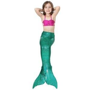 Image 3 - Bañador de sirena con aleta para niñas, traje de baño de sirena, 4 Uds./24 colores