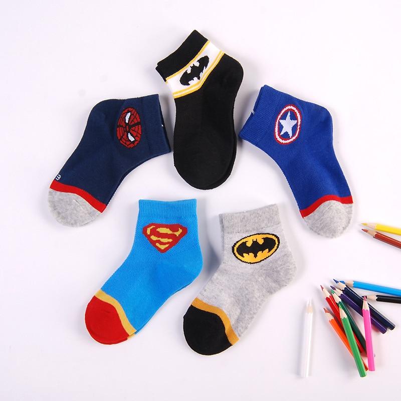 2-8 Years Super Hero Kids Cotton Socks Boys Autumn/winter Breathable Socks Children Soft Socks Baby 1 Pair Girls Cartoon Socks