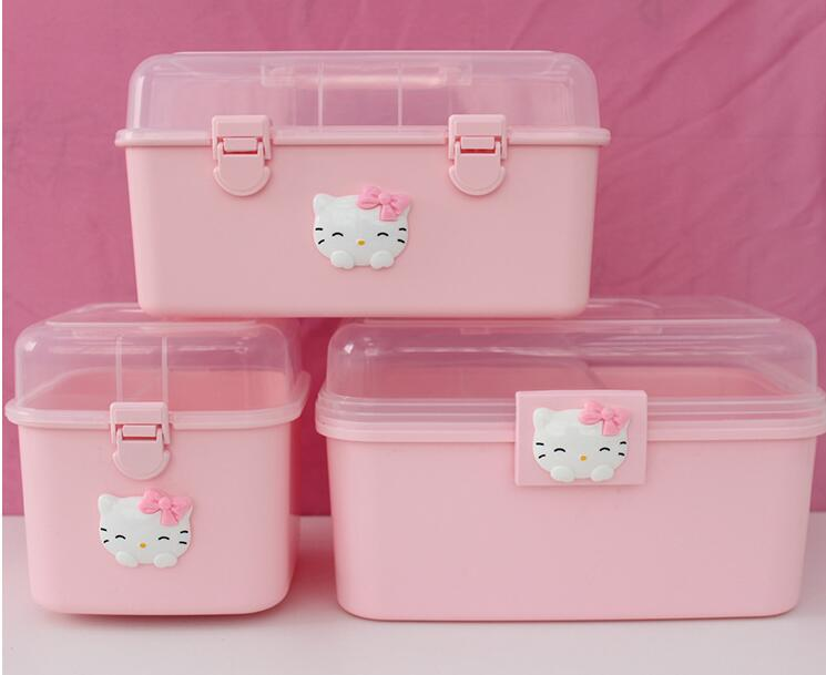 RB1 - Cute home children's multi-layer first aid kits cartoon fresh plastic beauty nail tools storage box