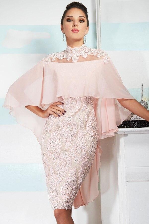 Rose 2019 mère de la mariée robes gaine en mousseline de soie dentelle perles cristaux courte robe de mariée mère robes pour mariage
