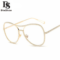 Dimshow Sunglasses Women Decorative Rhinestone Mirror Lens Copper Frame Brand Designer Twin Beam Sun Glasses UV400