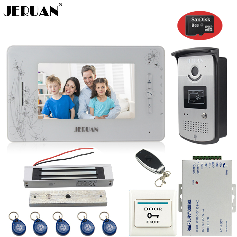JERUAN Wired 7`` TFT color video door phone intercom system 700TVL new RFID Access IR Night Vision Camera+8GB card+Magnetic lock jeruan three 7 monitor color video door phone intercom 700tvl rfid access ir night vision camera electric mortise lock 8gb card