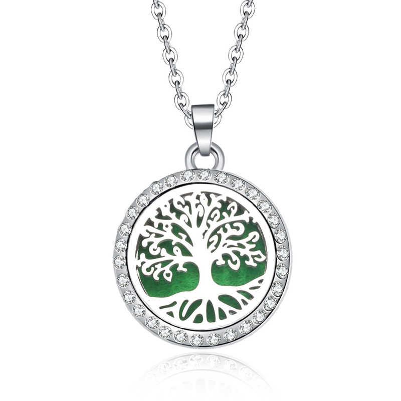 Nowy aromaterapia naszyjnik drzewo życia otwarty medalion olejki eteryczne Aroma dyfuzor dżetów medalion perfumy wisiorek naszyjnik