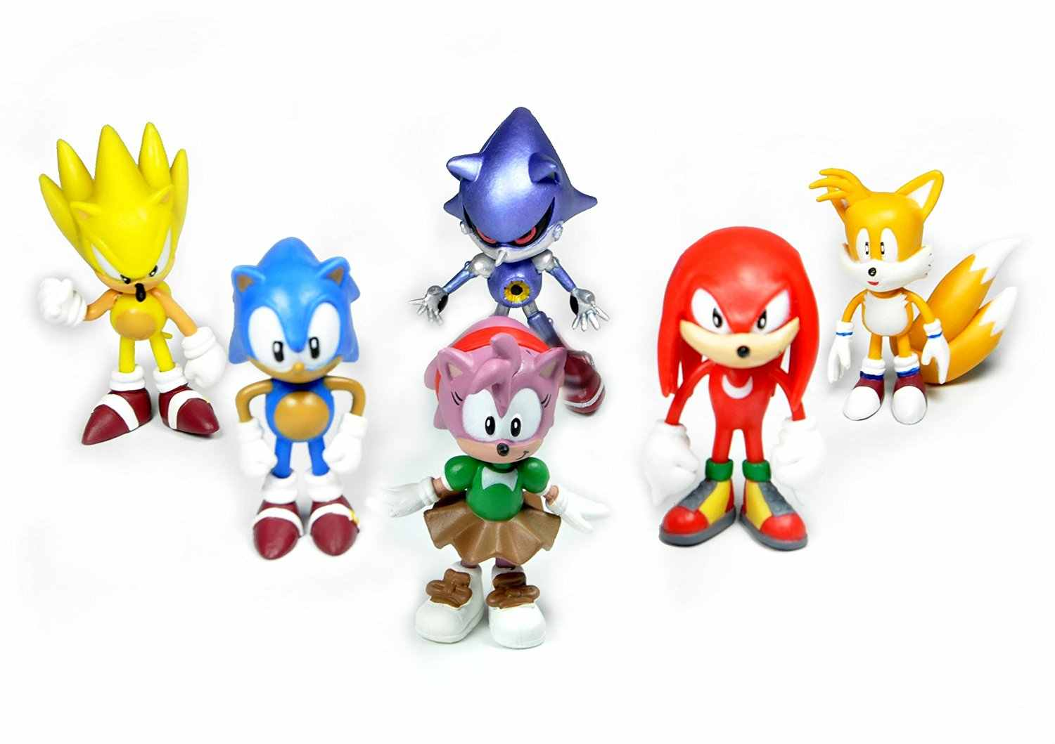 6pcs Lot 2 Sonic The Hedgehog Action Figure Knuckles Sonic Super Sonic Amy Metal Sonic And Tails Tru Exclusive Model Toy Aliexpress