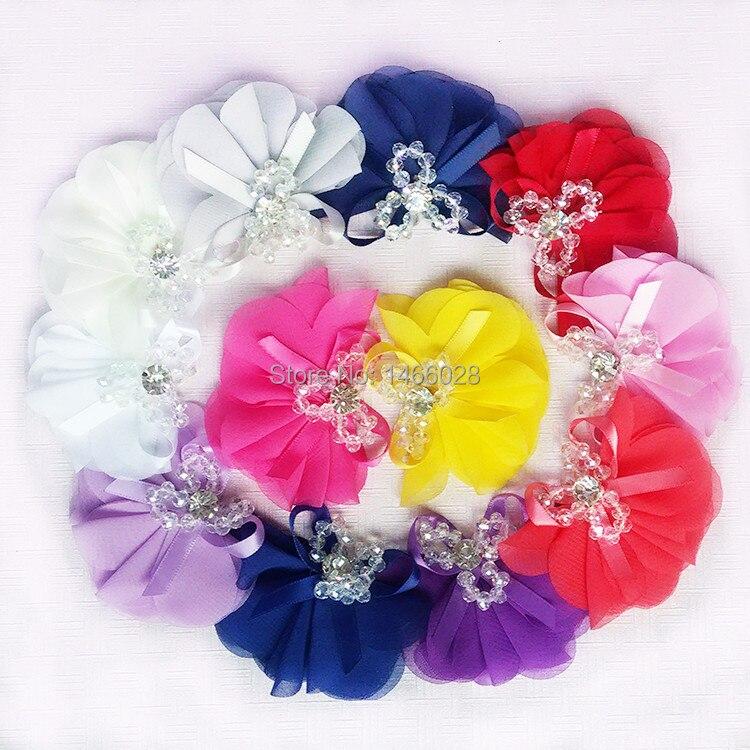 30 шт./лот, 3 ''шифон цветы со стразами, Потертый шифон цветы со стразами