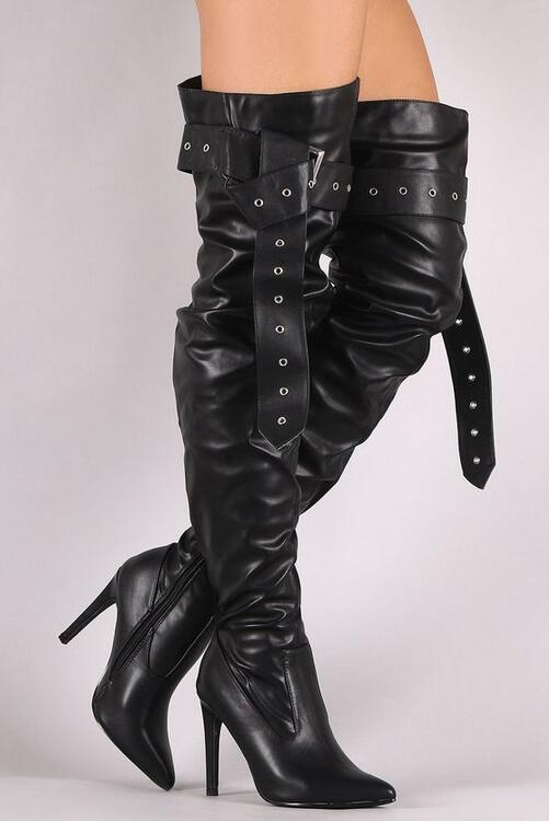 2018 Spring New Arrival Black Smooth Leather Women Over The Knee Boot Leather Buckle Ladies Sexy High Heel Boots Motorcycle Boot