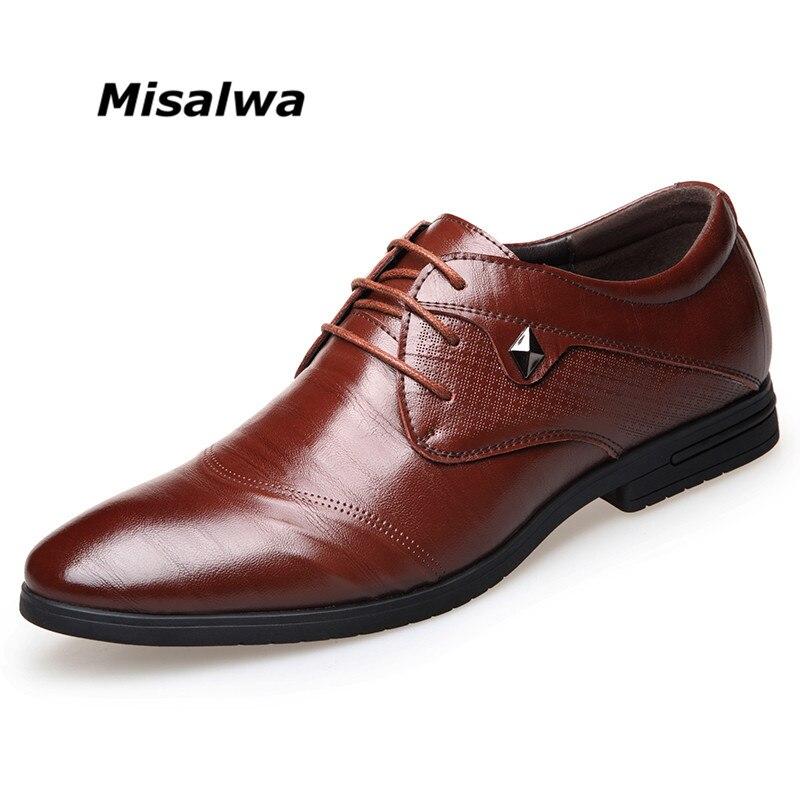 Misalwa Для мужчин Бизнес оксфорды мужские модельные туфли острый носок резные итальянский Мужская деловая обувь Бесплатная Прямая доставка