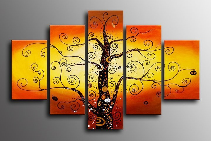 handpainted 5 piece golden red modern abstract oil paintings on ...