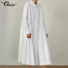 Women Pleated Shirt Dress Celmia 2019 Autumn Casual Buttons Vintage Maxi Long Sleeve Plus Size Vestidos Sarafan Femme