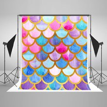 colorful mermaid scales watercolor fish scales Princess Gold Backgrounds Vinyl cloth Computer print party backdrops