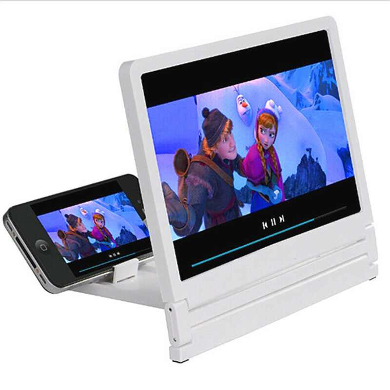 UMIWE 3D Phone Screen Magnifier 12 Mobile Screen Enlarge 3D HD Movies Amplifier Projector with Foldable Stand Magnifying Amplifying Glass for Watching Movie Videos on All Smartphones