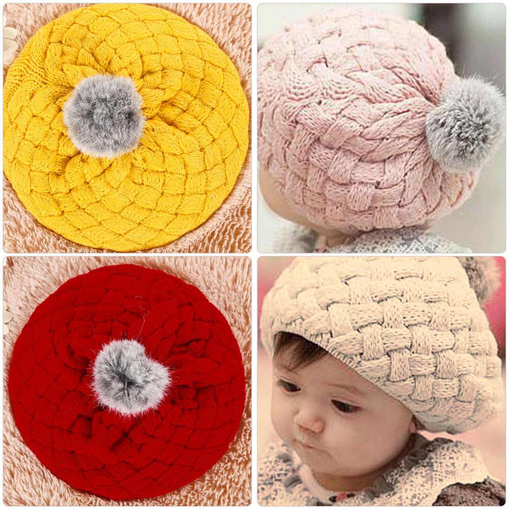 Зимняя теплая шапка для младенца мягкие вязаные вязанные трикотажные шапочки милый кролик искусственный мех Gorros младенческой малыша шапки-береты мяч рамка для фото