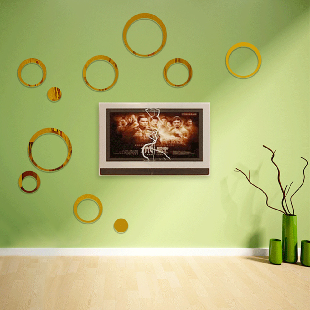 Wall poster circle acrylic three dimensional mirror wall for Adhesive wall decoration