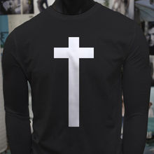 Christ Christian Jesus Cross Religious Simple Mens Black Long Sleeve T-Shirt  Free shipping Tops t-shirt Fashion