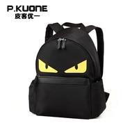 P KUONE Genuine Leather 2016 New Fashion High Quality Messenger Travel Backpacks Man Luxury Bags Waterproof