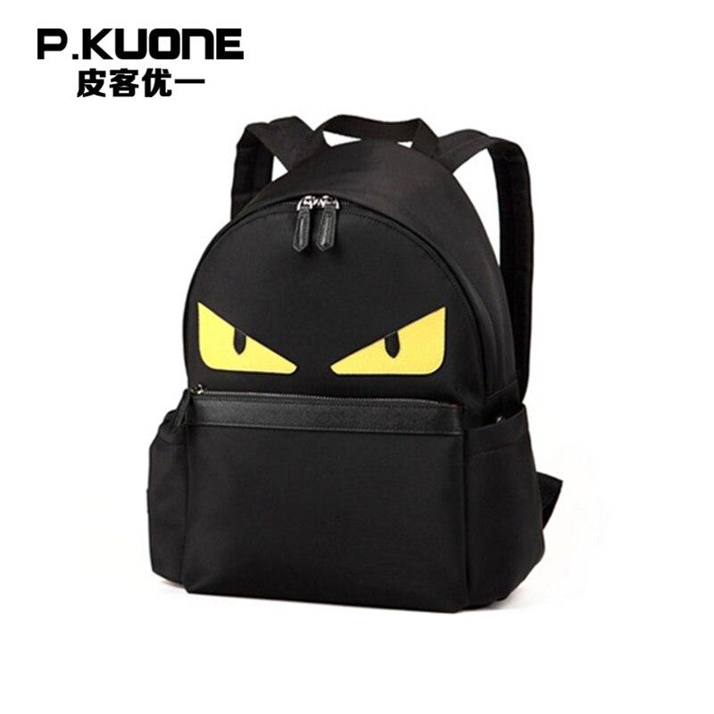 P. KUONE Nylon hommes sacs à dos 2018 nouvelle mode homme sac à bandoulière de luxe ordinateur portable petit Design étanche voyage sac d'école