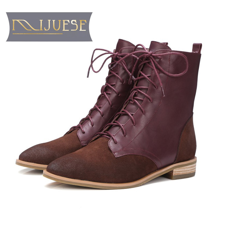 MLJUESE 2019 women Mid-calf boots cow Suede lace up round toe winter warm short plush low heel boots women Martin boots zorssar 2018 new fashion women martin boots cow suede comfort flats heel lace up mid calf boots autumn winter women shoes