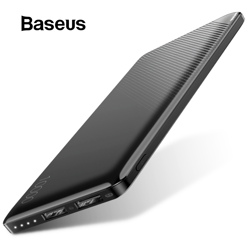 Banco de energía Baseus 10000 mAh para iPhone teléfono móvil Paquete de batería externa Mini banco de energía portátil cargador Dual USB Powerbank