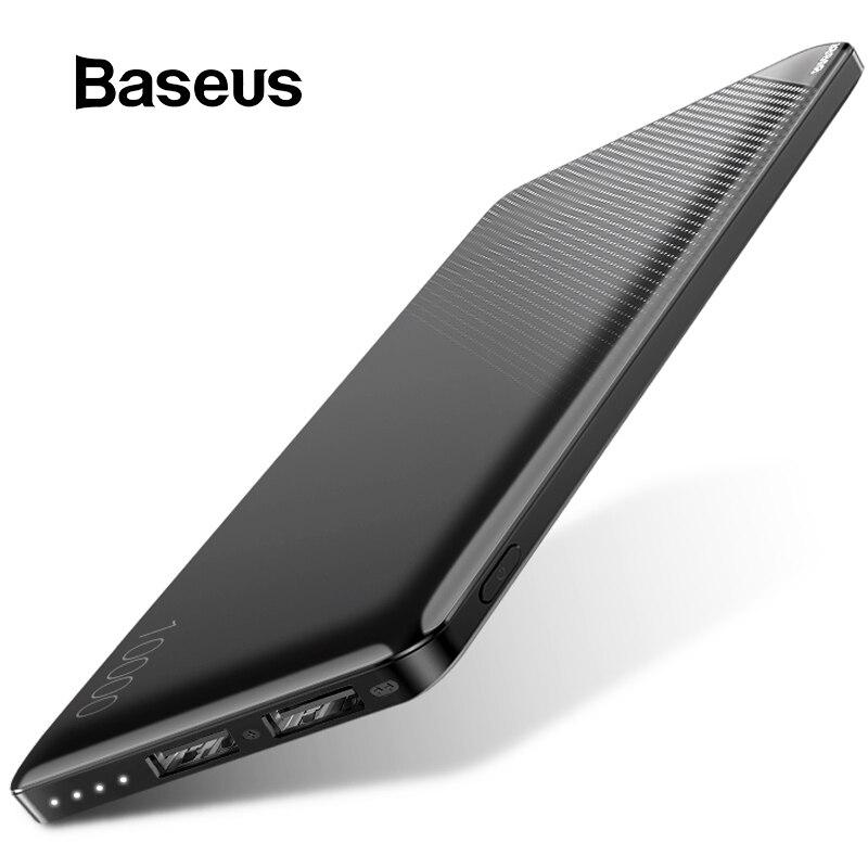 Baseus 10000 mAh Banco de la energía para el teléfono móvil iPhone Paquete de batería externa portátil Mini banco de potencia Dual USB cargador banco de energía