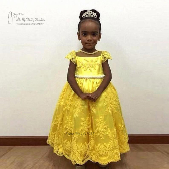 f289f032c Yellow Flower Girl Dresses for Weddings Kids Prom Dresses Pageant ...