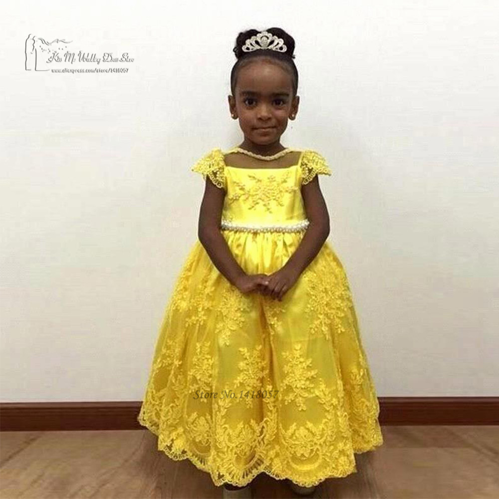Yellow   Flower     Girl     Dresses   for Weddings Kids Prom   Dresses   Pageant   Dress   for Little   Girls   Vestido de Daminha Lace   Girls   Ball Gown