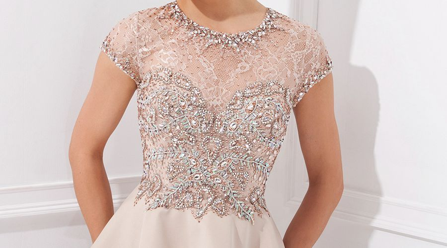 Elegant Sheath Evening Dresses Crystal Beading Peplum Draped Formal Evening  Dresses Two Pieces Lace Top Short Sleeve Woman Dress-in Evening Dresses  from ... 026453379af7