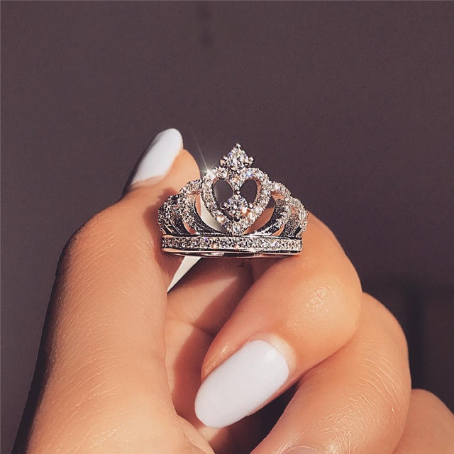 Classic Crown ring 925 Sterling silver AAAAA Cubic Zirconia Engagement Wedding Band Rings for women Bridal Jewelry Gift