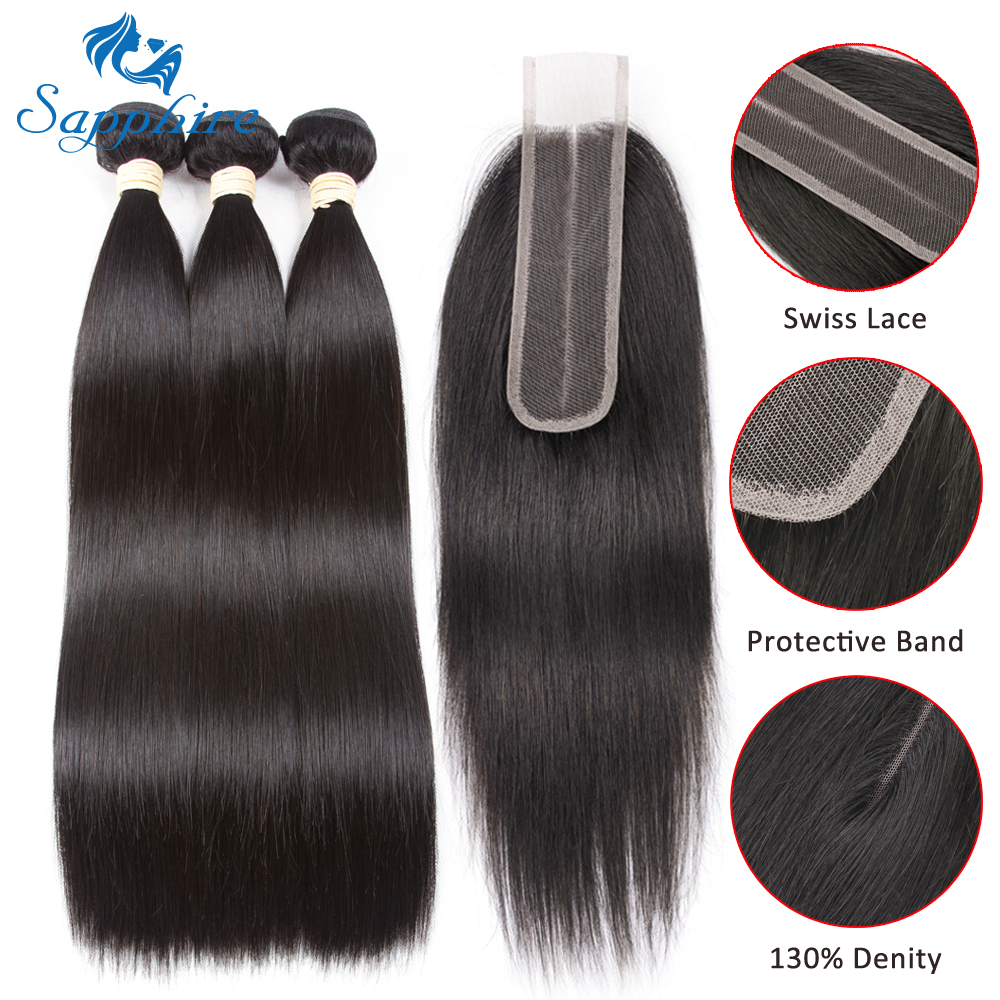 Sapphire Hair Malaysian Human Hair Bundles With Closure Hair Extension Straight Hair Bundles With Closure 2