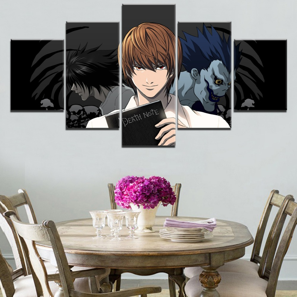 Canvas Painting Print Poster Home Decor 5 Pieces Anime Death