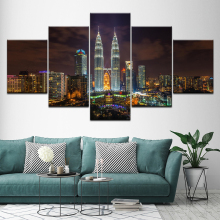 Canvas Painting Modern city night view 5 Pieces Wall Art Painting Modular Wallpapers Poster Print for living room Home Decor цена
