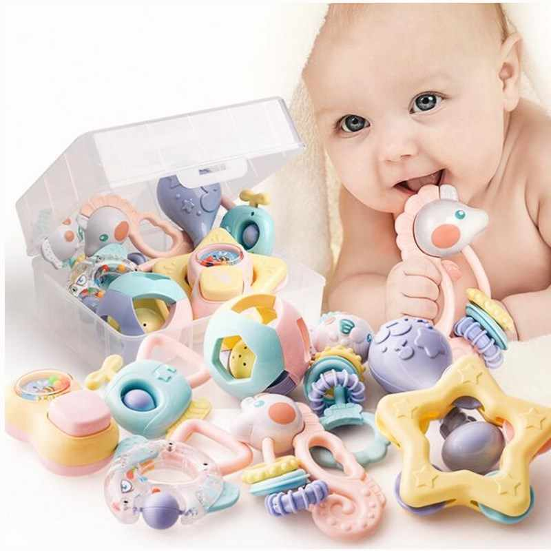 Baby Rattles Toys 12pcs Teether Music Hand Shake Bed Bell Newborns Plastic Animal Rattles Gift Educational Baby Toys 0-12 Months