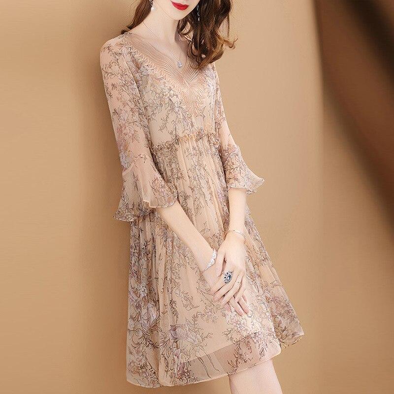 2018 autumn new silk women dresses fashion high waist floral printed ruffles sleeved A line chiffon dresses top quality