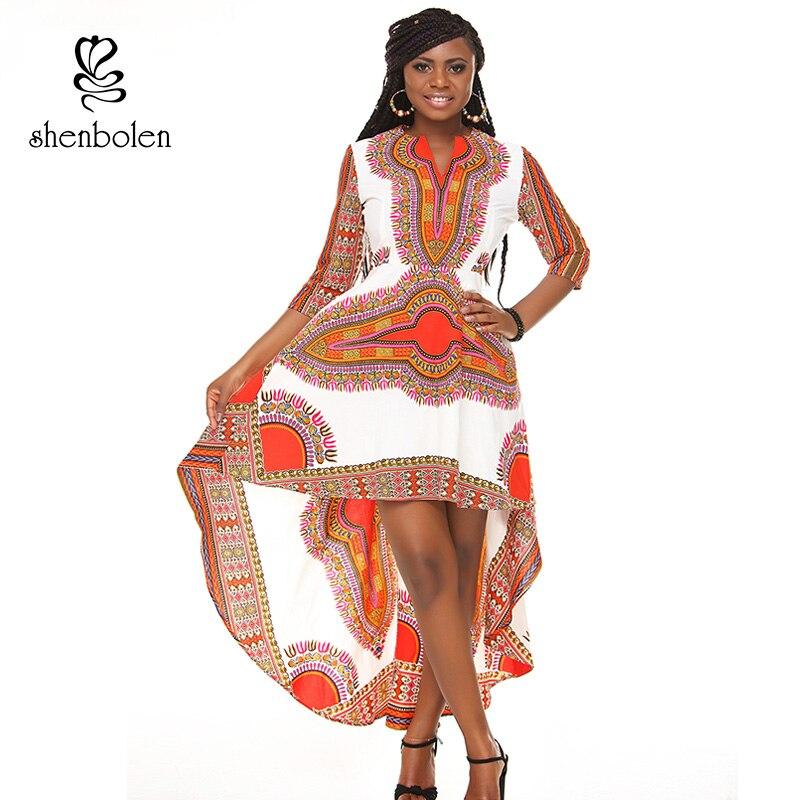Autumn new style 2017 women african dresses tradition dashiki printing wax fabric half sleeve lady irregular part dress