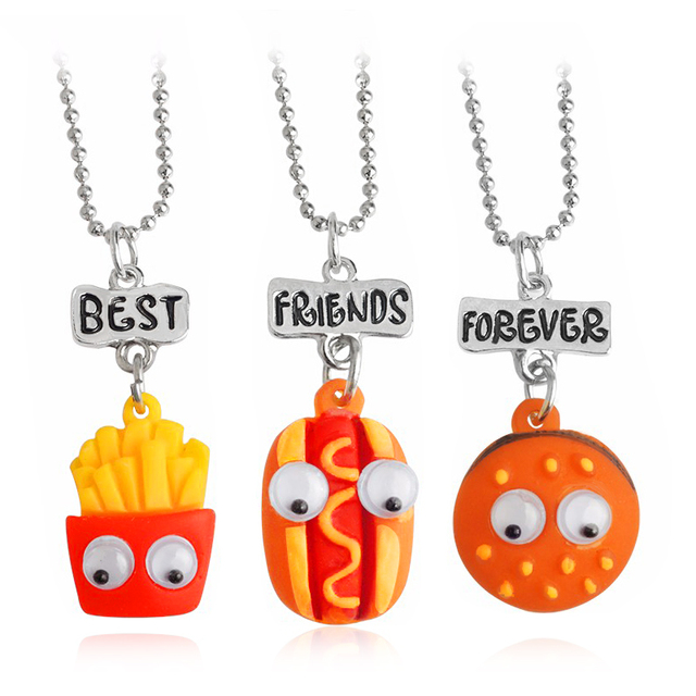 3 Pz Set Good Friends Cartoon Necklaces French Fries Hot Dog Bread