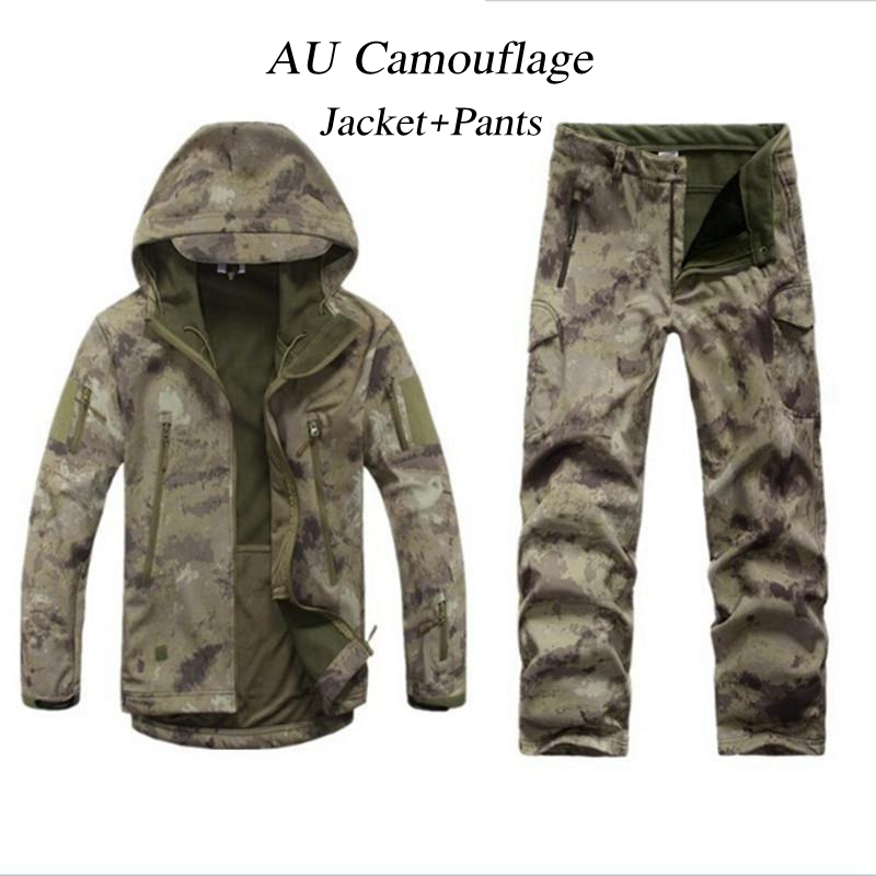 Outdoor Tactical Hunting Mens Soft Shell Camo Jacket Pant Clothes Set Army Sport TAD Waterproof Military Hiking Jacket Trousers
